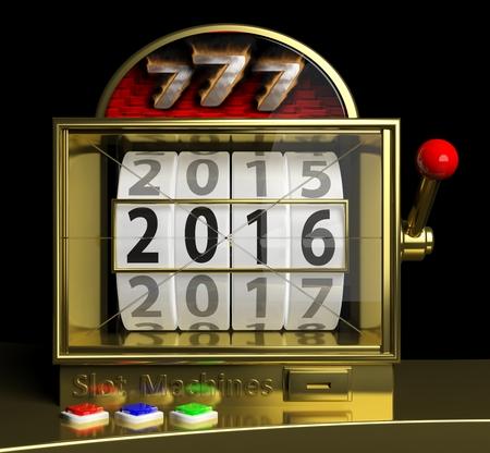 display machine: Gold slot fruit machine with New year 2016 on display Stock Photo