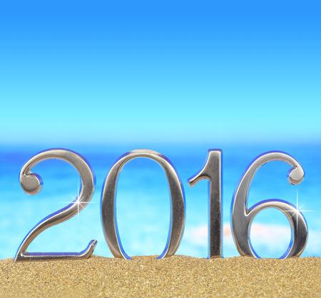 Neues Jahr Nummer 2016 am Strand Standard-Bild