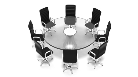round chairs: Round glass meeting room table with leather chairs isolated on white Stock Photo