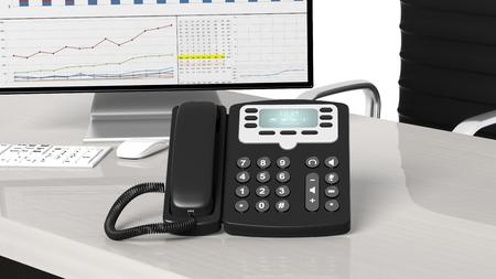 landlines: Black telephone closeup on office desk