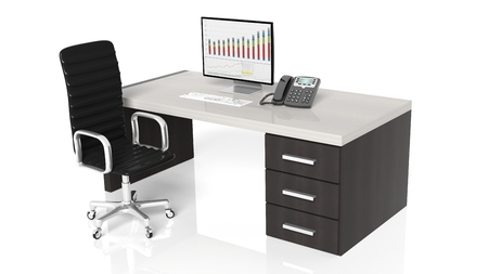 Office desk with equipment and black chair on white background 免版税图像 - 39694300