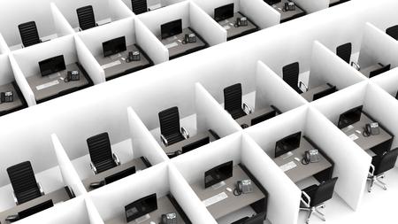 モダンなオフィスのキュービクルの内部 写真素材