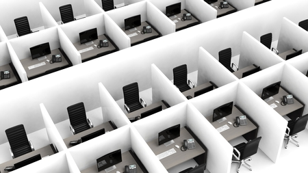 to phone calls: Interior of a modern office cubicles