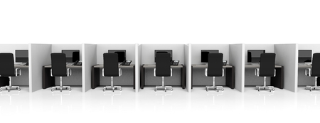 Office cubicles with equipment and black chairs on white background