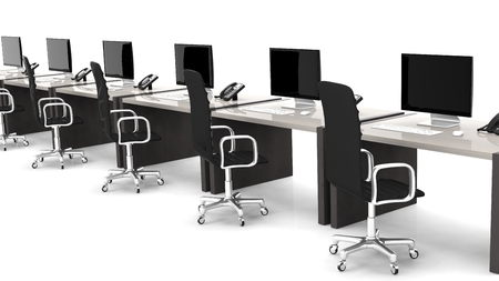 Office desks with equipment and black chairs on white background Stock Photo