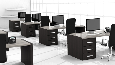 interior spaces: Interior of a modern office with multiple working spaces Stock Photo