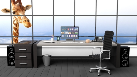 girafe: Interior of a modern office with window and funny girafe Stock Photo