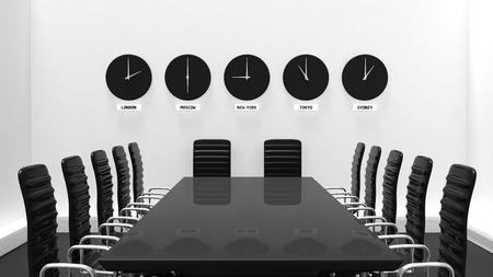 administracion de empresas: Interior de una sala de reuniones con los relojes mundiales en una pared blanca Foto de archivo