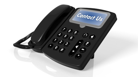 landlines: Black telephone with Contact Us on screen isolated on white Stock Photo