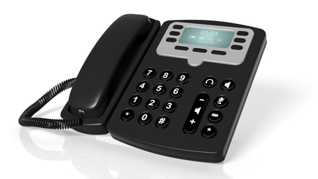 landlines: Black office telephone isolated on a white background Stock Photo