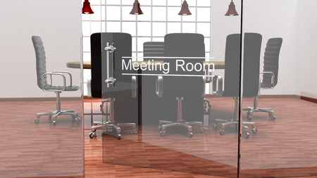 Interior of a modern office meeting room with crystal doors