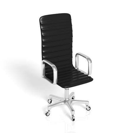 白で隔離黒革オフィスの椅子 写真素材
