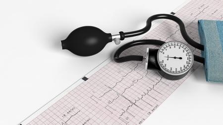 sphygmomanometer: Sphygmomanometer and cardiogram isolated on white background