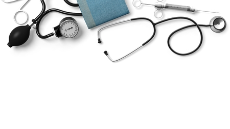Various medical equipment isolated on white background photo