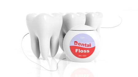 floss: Set of teeth with dental floss isolated on white background