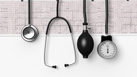 sphygmomanometer: Stethoscope,sphygmomanometer and cardiogram  isolated on white