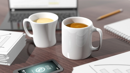 two objects: Two cups of coffee on desktop with office objects Stock Photo