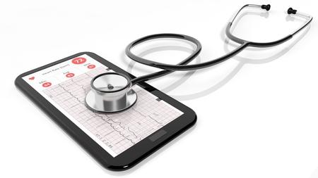 salud publica: Tablet PC con el cardiograma y un estetoscopio en él, aislados