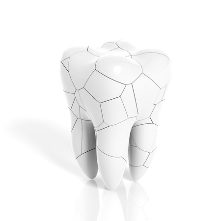 Broken molar tooth isolated on white background Stock Photo