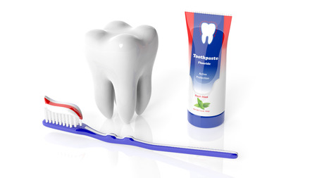 molar: Molar tooth with toothbrush and toothpaste isolated on white