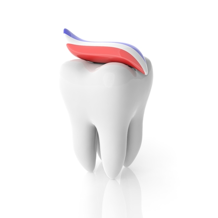 Molar tooth with toothpaste isolated on white Stock Photo