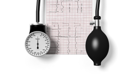 sphygmomanometer: Sphygmomanometer and cardiogram isolated on white background