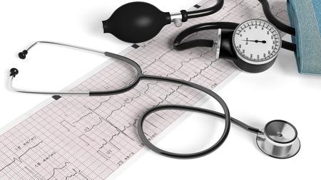 sphygmomanometer: Stethoscope,sphygmomanometer and cardiogram  isolated on white