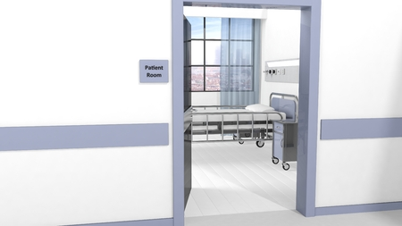 Hospital patient room view from hallway with open door