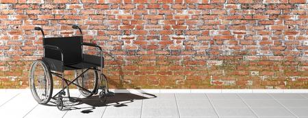 paraplegico: Silla de ruedas discapacidad Negro cerca de la pared de ladrillo