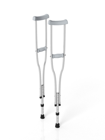Metallic crutches isolated on white background 免版税图像 - 40903626