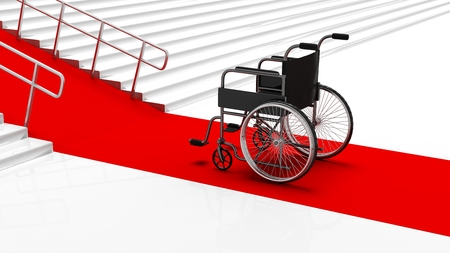 disability: Black disability wheelchair in front white stairs with red carpet Stock Photo