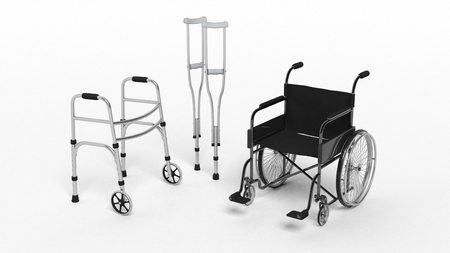 supplies: Black disability wheelchair, crutch and metallic walker isolated on white