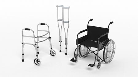 équipement: Noir handicap en fauteuil roulant, marchette béquille et métallique isolé sur blanc