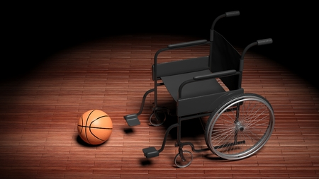 invalidity: Wheelchair with basketball ball on wooden parquet floor
