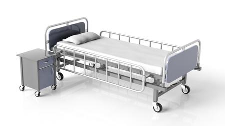 Ziekenhuisbed en nachtkastje, op een witte achtergrond