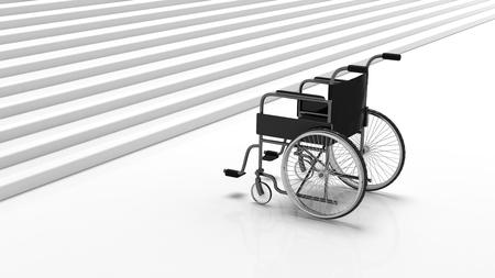 白い階段の近くに黒い障害者車いす