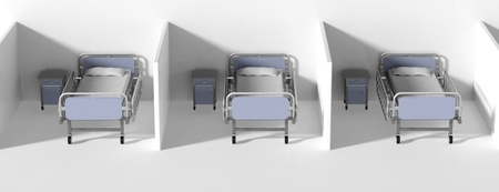 cubical: Hospital cubical beds and bedside tables in a row Stock Photo