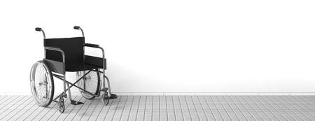 paraplegic: Silla de ruedas discapacidad Negro cerca de la pared blanca y limpia Foto de archivo