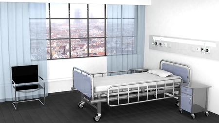 hospital interior: Bed, bedside table and chair in hospital room with window