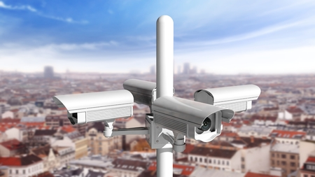 city surveillance: Security surveillance cameras watching in every direction above city
