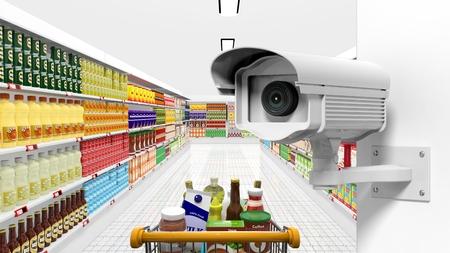 背景としてスーパー マーケット内部でセキュリティ監視カメラ