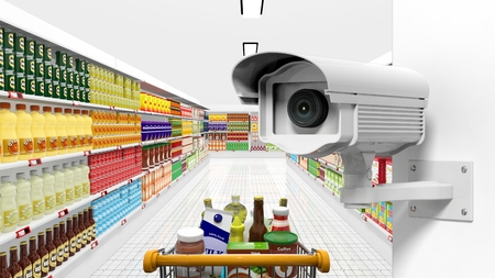 Security surveillance camera with supermarket interior as background Stock Photo - 41045896