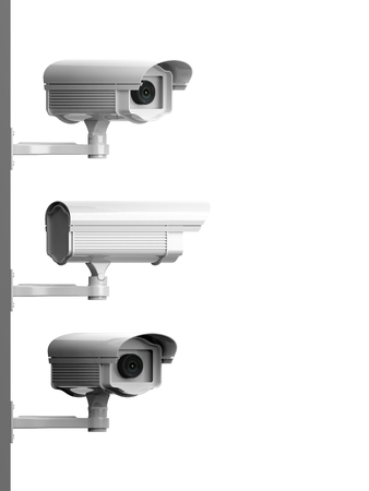 Three security surveillance cameras side view isolated on white background photo