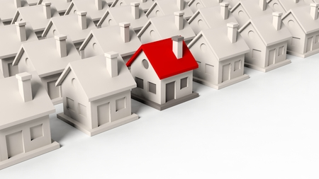 background house: House models with one standing out isolated on white background