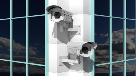 big brother spy: Two security surveillance cameras on skyscraper building