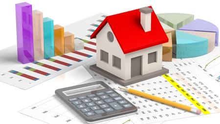 bienes raices: Modelo de la casa con barras de chat y calculadora aislado en blanco Foto de archivo
