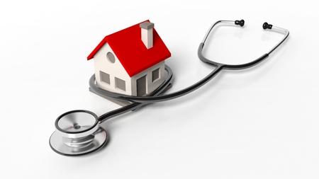 Haus-Modell mit Stethoskop isoliert auf weißem Hintergrund