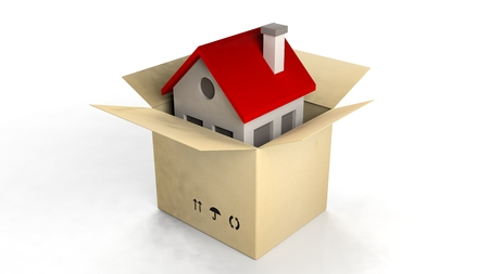 toy house: House model in a paper box isolated on white background