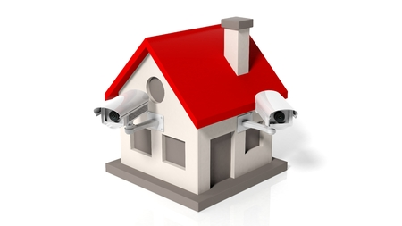 guard house: House model with surveillance cameras isolated on white background