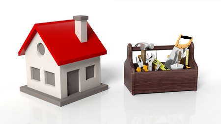 tool kit: House model with tool kit isolated on white background Stock Photo